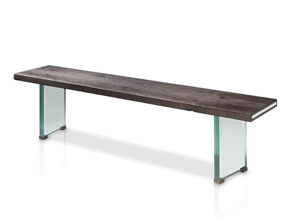 Banco para mesa de comedor con patas de cristal for Mesas para comedores pequea os