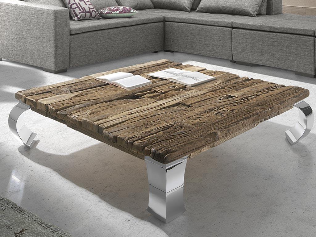 Mesas de centro con madera reciclada y patas de metal for Mesas de centro metalicas