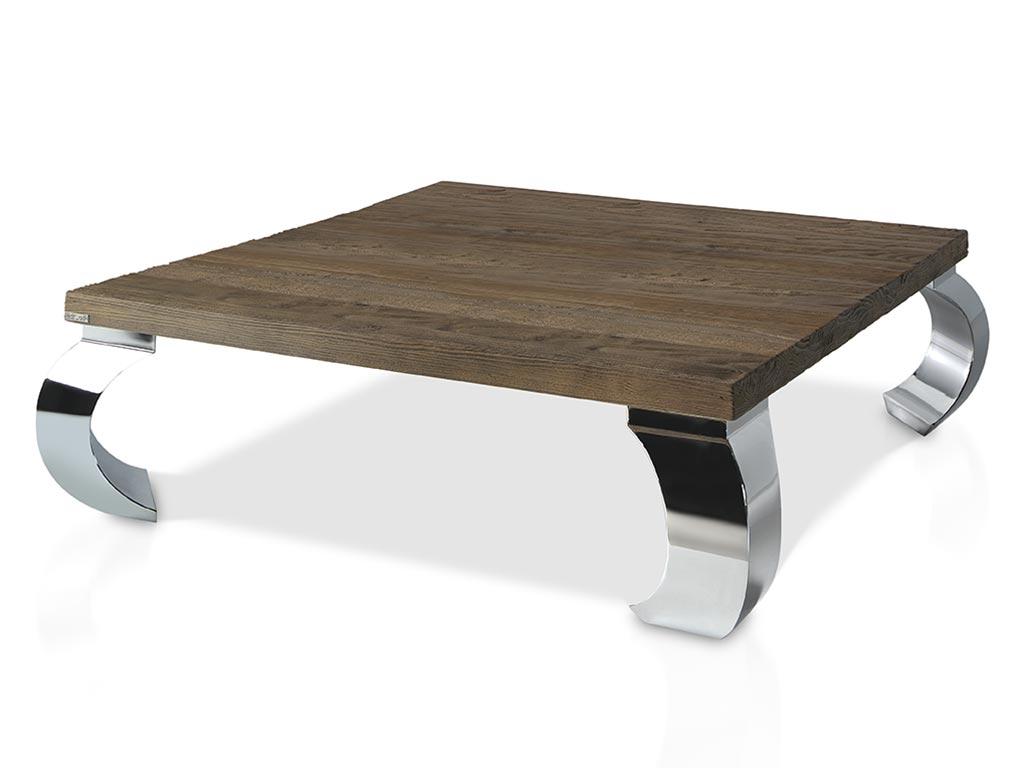 Mesa de centro patas de acero madera de mobila for Patas acero para mesas
