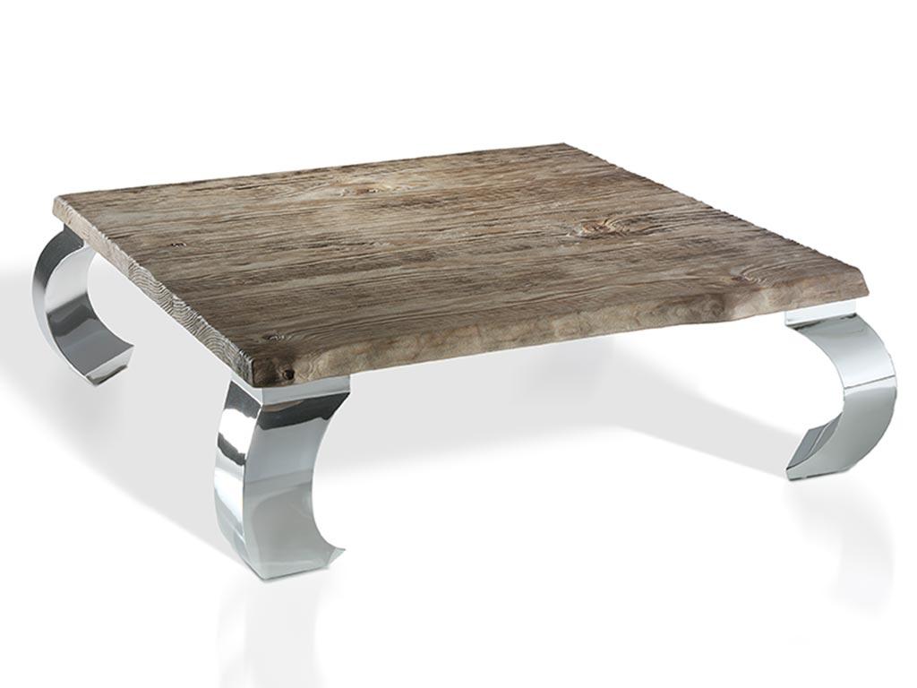 Mesas de centro tronco con madera de mobila y patas de metal for Mesas de centro metalicas