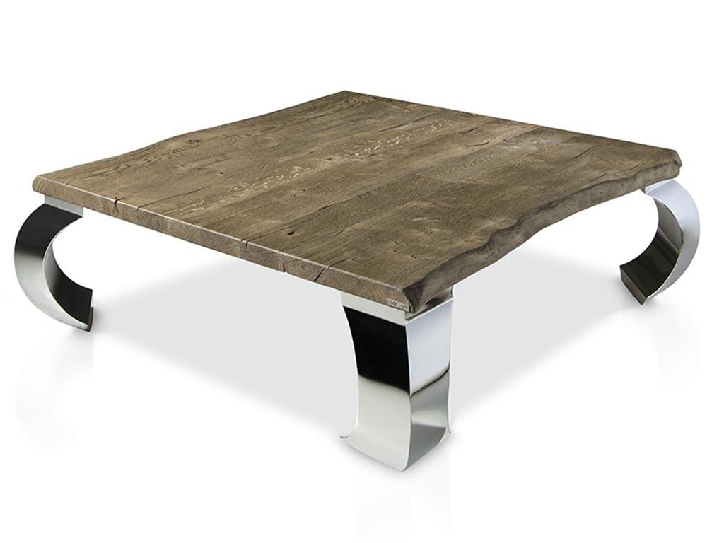 Mesas de centro tronco patas metal con roble macizo - Mesas de troncos de madera ...