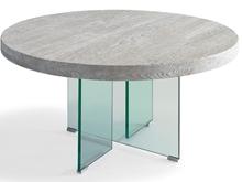Mesa comedor redonda con patas de cristal P-20