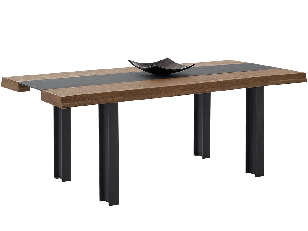 Mesa comedor en roble marinado y metal con patas p 22 metal for Mesa comedor madera y metal
