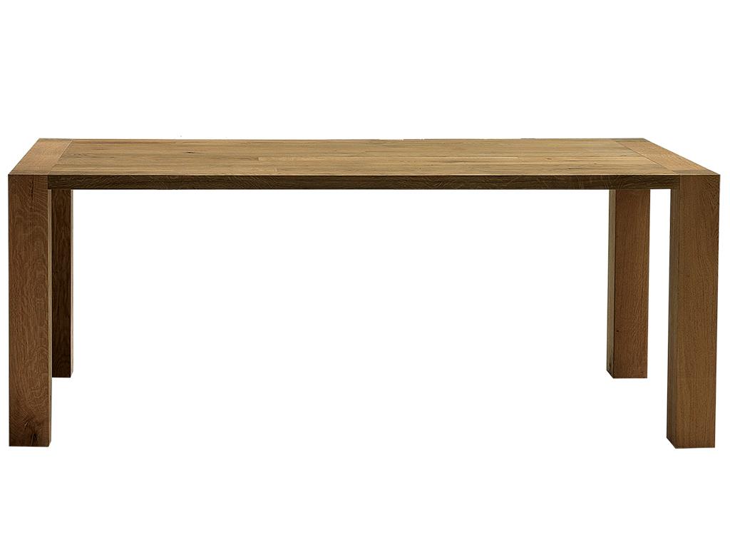mesa de comedor en roble marinado con estructura y tapa maciza