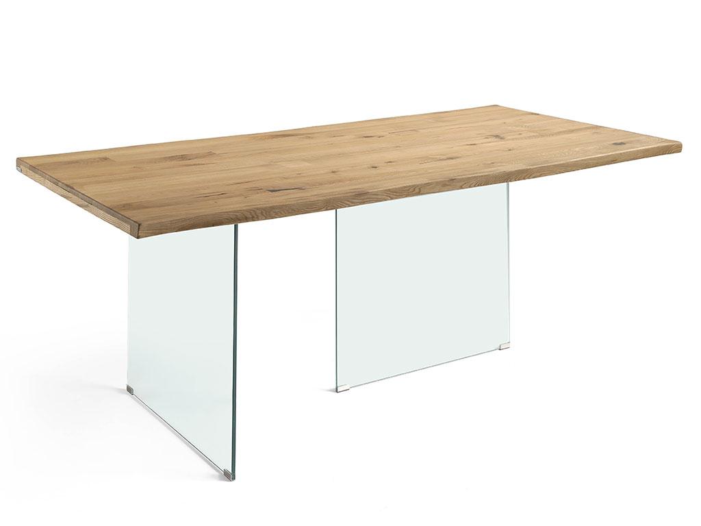 Mesa de comedor roma en fresno viejo y patas cristal p 26 - Patas para mesa de cristal ...
