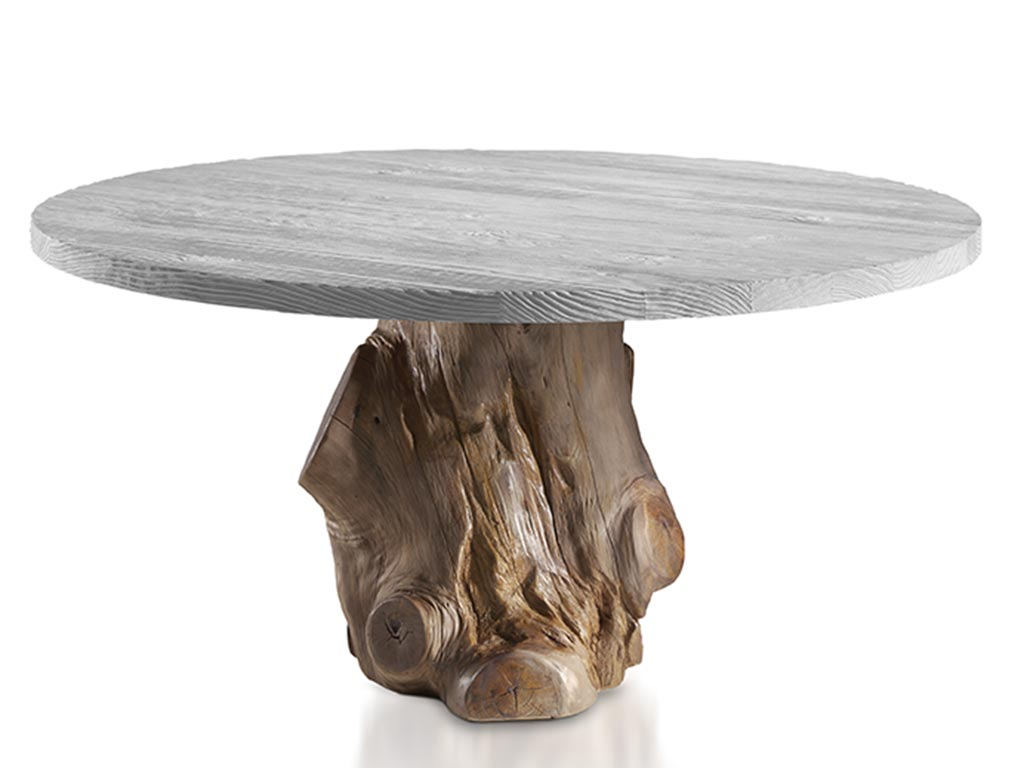 Mesas de comedor redondas especial pata de tronco for Mesita noche redonda