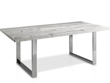 Evolución Dining Table with Glass Top and Square Metal Legs