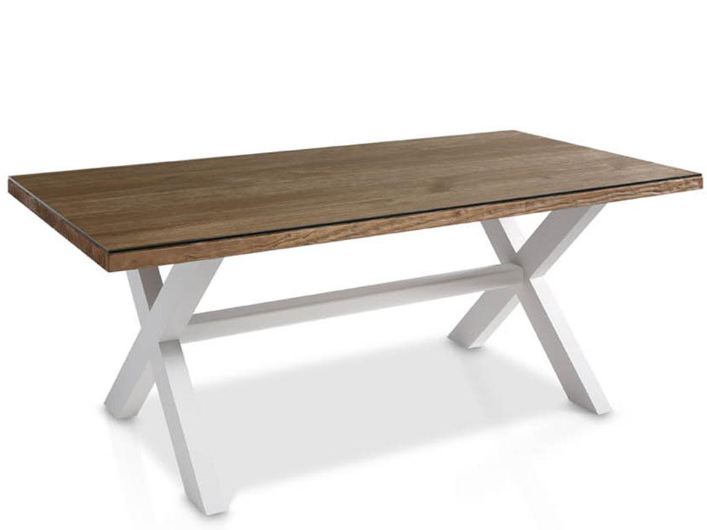 Mesas de comedor con cristal y patas de aspa de la - Mesas de forja y cristal ...