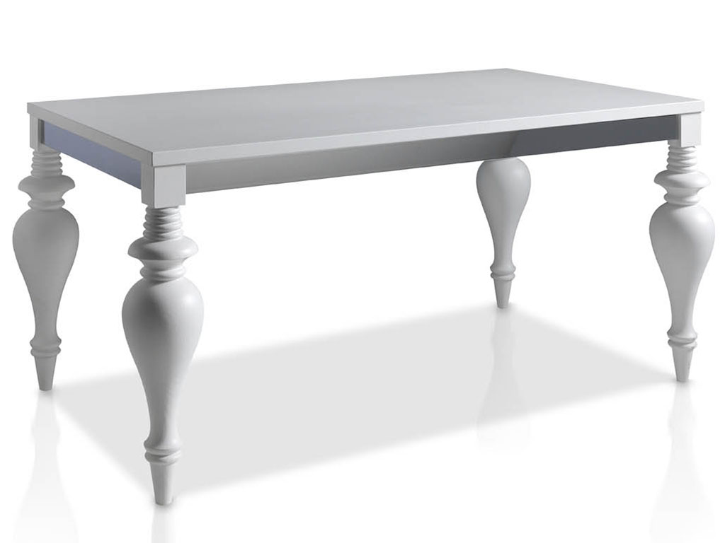 mesas de comedor con patas clasicas y bambalina metalica