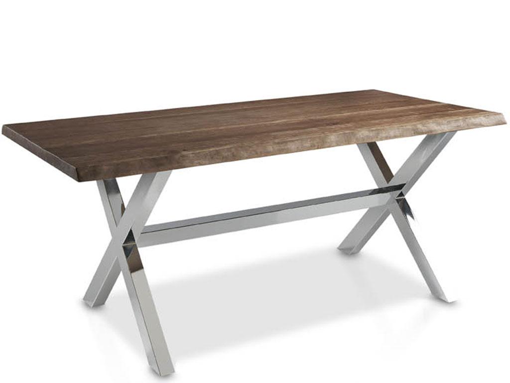 Mesas de comedor con perfil de tronco patas en aspa metalicas for Mesas de centro metalicas