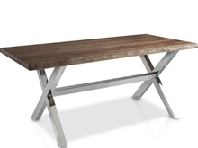 Evolucion Dining table with trunk side and metal legs.