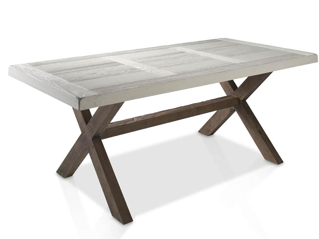Mesas de comedor con tapa de puerta y patas de madera en aspa - Mesas con puertas ...