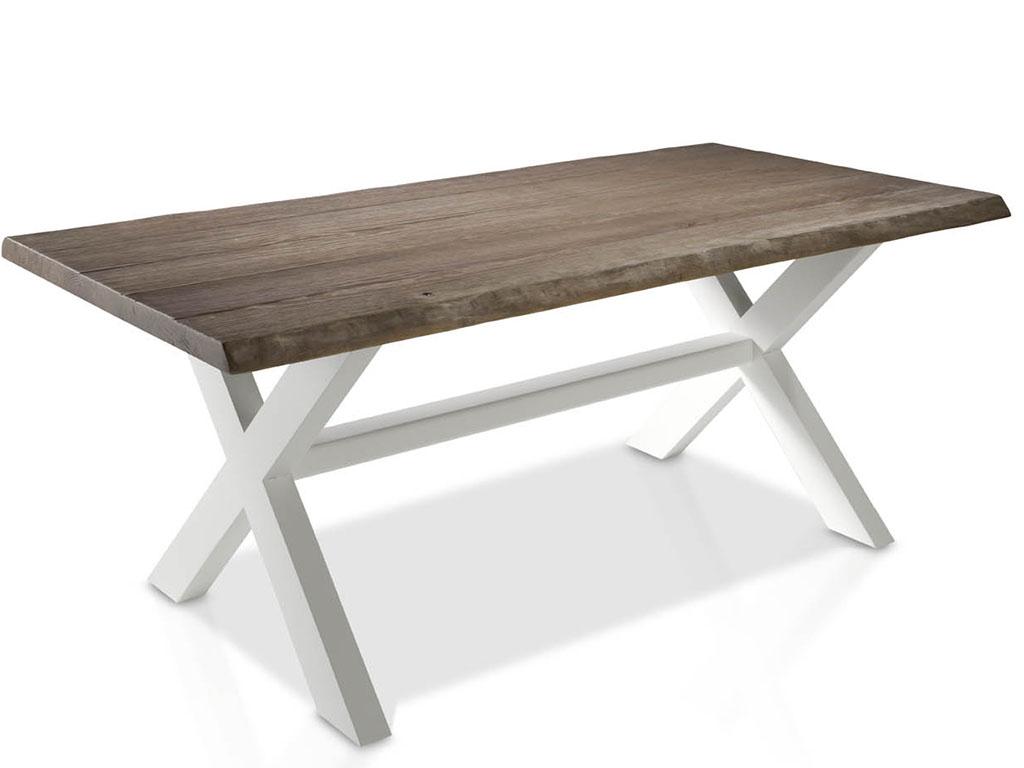 Mesas de comedor con perfil de tronco de mobila y patas de for Mesas de comedor madera natural
