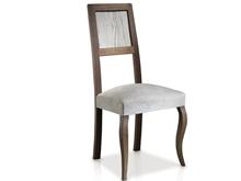 Chaise avec pieds élisabéthains et dossier rayé revêtue en tissus T-475 Evolución