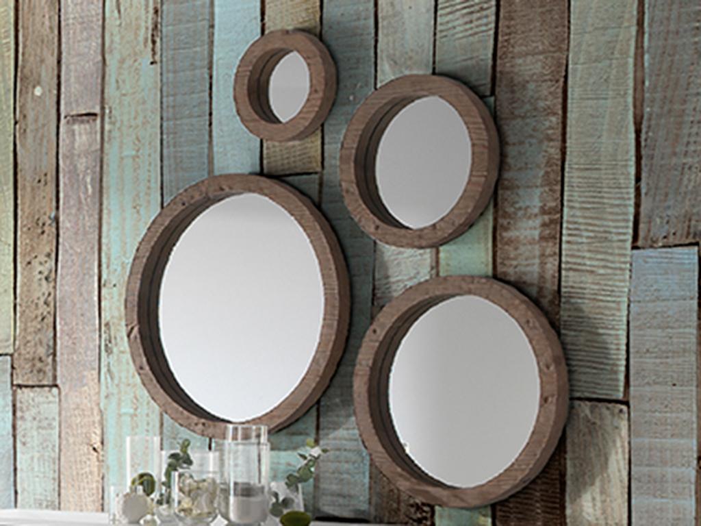 Conjunto de 4 espejos circulares for Espejos circulares decorativos