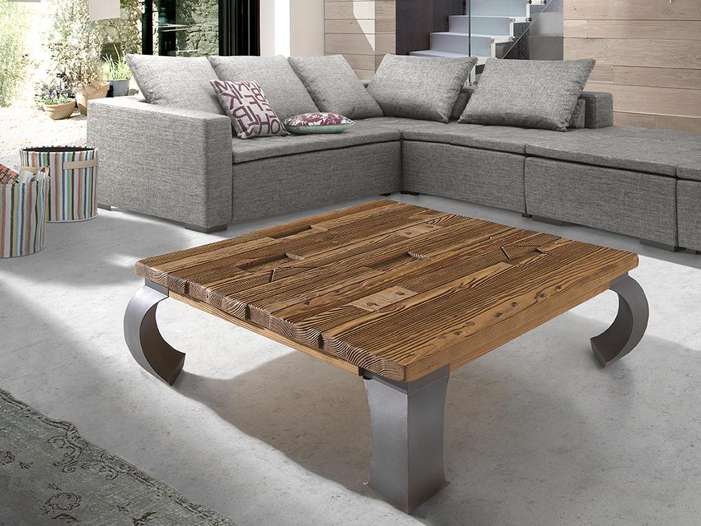 Mesas de centro con madera reciclada y patas de metal for Mesa centro madera