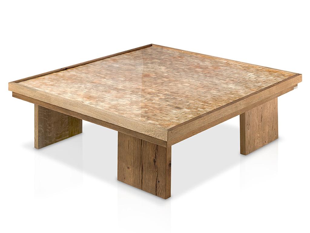 Mesa de centro con tapa de nacar y patas madera for Mesas de centro metalicas