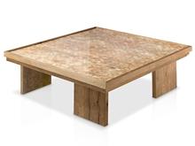 Mesa centro tapa nacar y patas madera