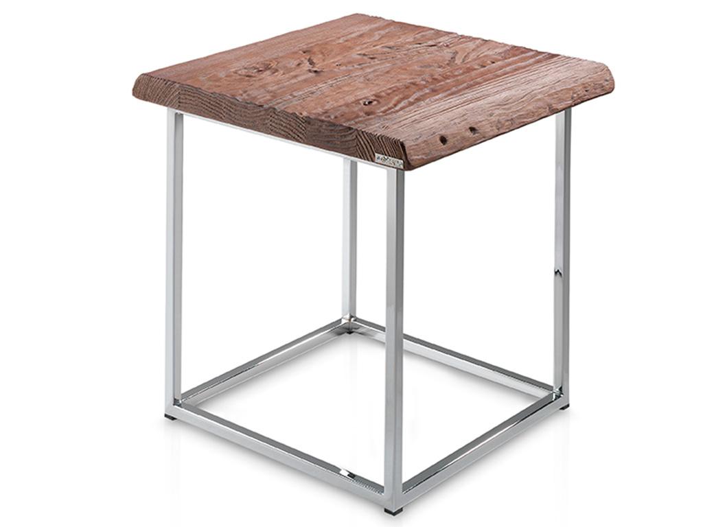 Mesa de rinc n con perfil tronco y patas metalicas for Patas de mesa metalicas