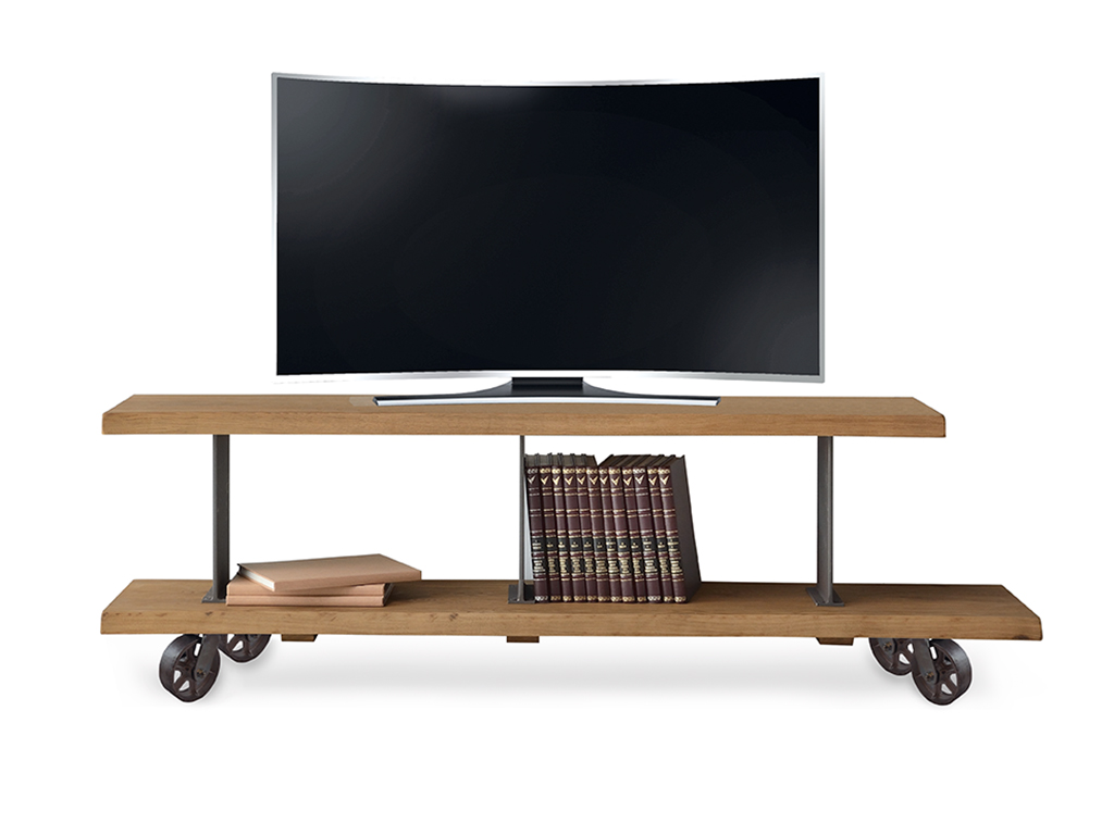 Muebles tv estilo industrial con ruedas for Muebles para tv con ruedas